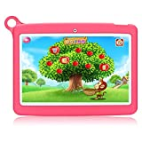 Padgene Tablet para niños de 10.1 Pulgadas 1280x800 WiFi Android 8.1, Tablet Infantil de Aprendizaje Educativo, Pantalla Táctil IPS, Cámara Dual, con Funda Silicona Portátil (16GB, Rosa)