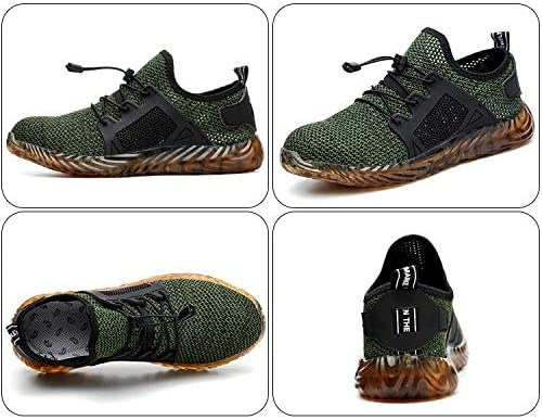 SoulSpaze Men and Women Steel Toe Air Safety Boots Indestructible Ryder Shoes Puncture-Proof Work Sneakers Breathable Shoes Color Green (43)