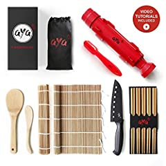 Includes exclusive step-by-step online video tutorials. Instant results. Make sushi with your favorite ingredients, save yourself a trip to the restaurant. Nigiri maker and professional grade sushi knife included. Natural premium bamboo mats, rice sp...