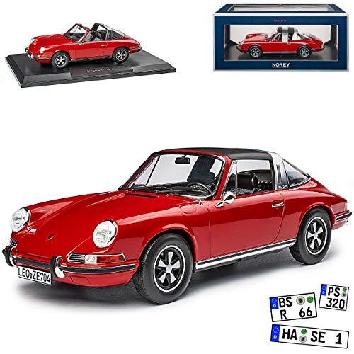 Porsche 911 T Urmodell Targa Cabrio Rot 1963-1973 1/18 Norev Modell Auto mit individiuellem Wunschkennzeichen