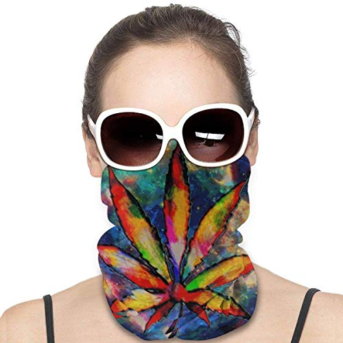 FETEAM Pasamontañas Protección Solar Cara-Hoja de Marihuana Espacio Galaxy Weed Cannabiss Bufanda para la Cara de esquí Bandas para la Cabeza Calentador de Cuello