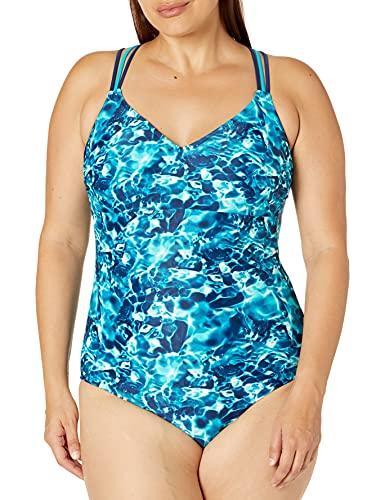 Amazon Brand - Coastal Blue Women's Plus Size One Piece Swimsuit, Piscina, 1X (16W-18W)