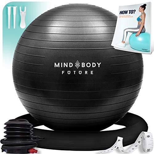 Gymnastikball Mind Body Future. Swiss Ball perfekt als Sitzball u. Therapieball. für Yoga, Pilates, Schwangerschaft. Robust, rutschfest, hypoallergisch. 65 cm mit Ring u. Pumpe. Schwarz