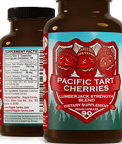 Tart Cherry Capsules Grown in USA - Lumberjack Strength Blend - Tart Cherry Powder with Bilberry 90 Vegan Pills