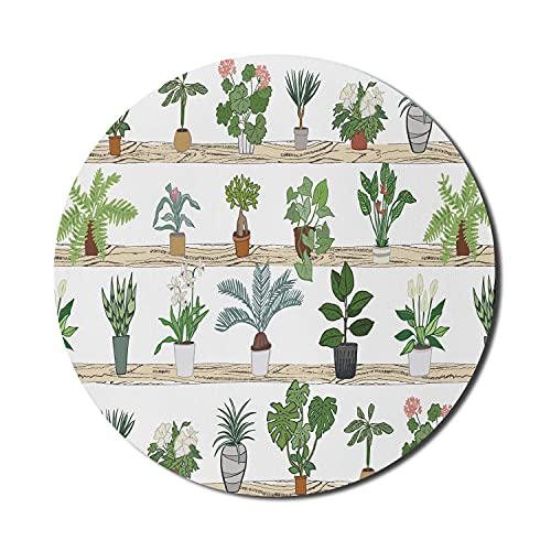 Geranium Mouse Pad für Computer, Botanisches Thema mit Aloe Zimmerpflanzen Spinnenpflanze Dragon Tree Calathea, Rundes rutschfestes dickes Gummi Modern Gaming Mousepad, 8 'Rund, Mehrfarbig