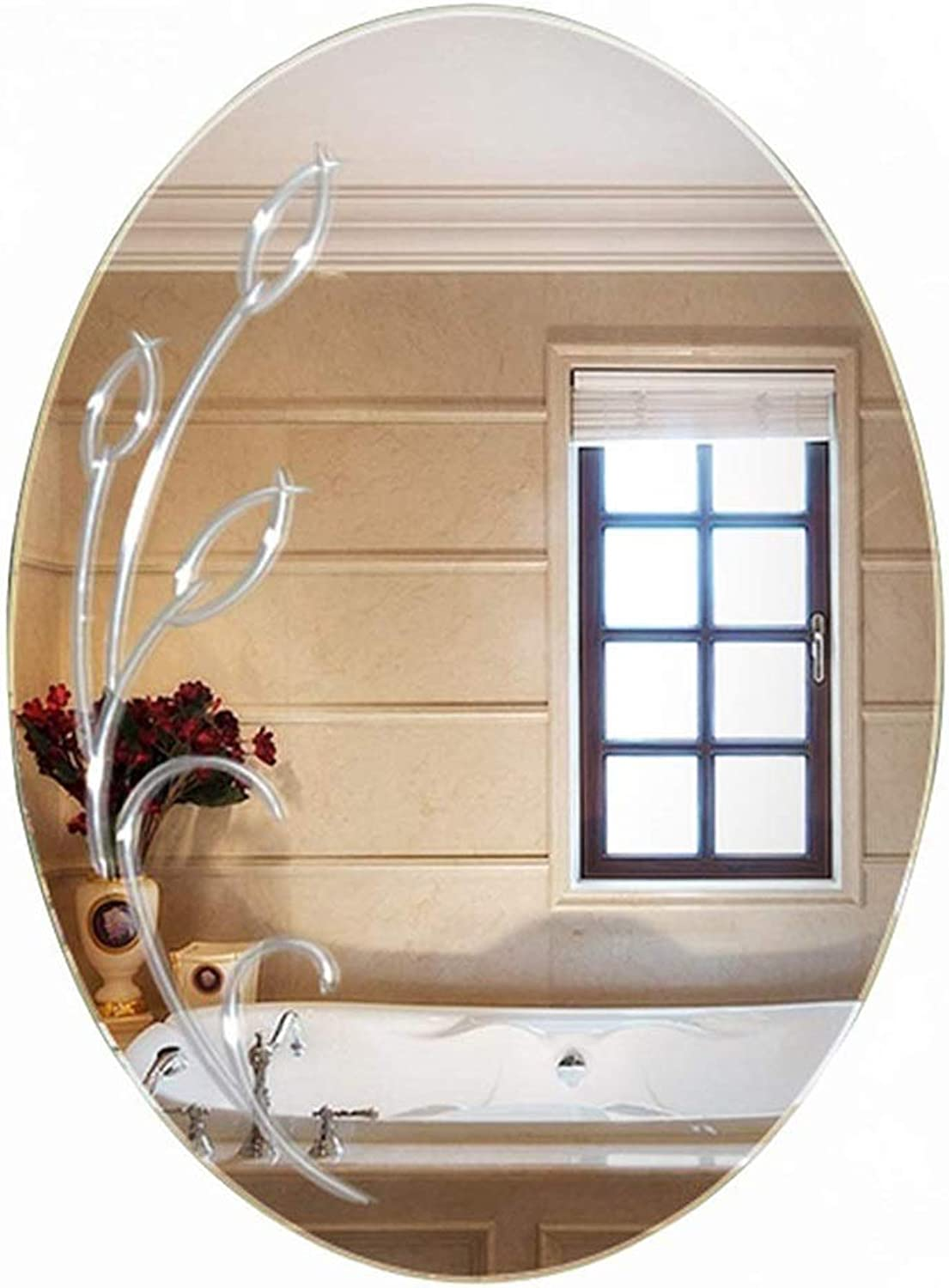 YONGMEI Mirror-Bathroom Frameless Wall Mirror Oval with Unique Engraving Pattern, Size  50  70cm (color   Clear)