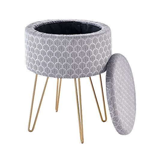 Cplxroc Round Storage Ottoman Removable Lid, Foot Stool Dressing Chair, Shoe Change Footrest, Compact Soft Padded Seat Tray Top for Living Room, Bedroom, Kids Room, Golden Metal Leg Vanity Seat (Grey)