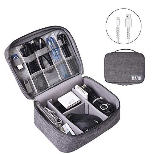 Electronics Organizer, OrgaWise Electronic Accessories Bag Travel Cable Organizer Three-Layer for iPad Mini, Kindle, Hard Drives, Cables, Chargers (Two-Layer-Grey)
