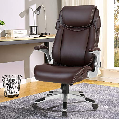 BERLMAN Ergonomic PU Leather High Back Office Chair with Flip-up Armrest Managerial Chair Executive Chair Desk Chair Computer Chair (Brown)