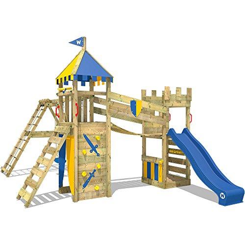 WICKEY Spielturm Smart Legend 120 - Klettergerüst mit Schaukel, Sandkasten, Kletterwänden und -leiter, großem Kletteranbau, Wackelbrücke und blauer Wellenrutsche