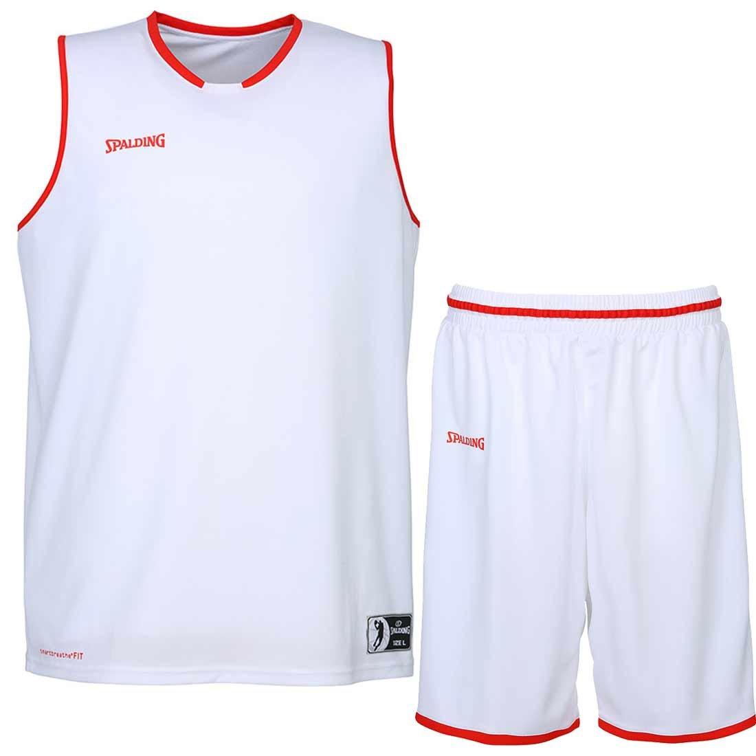 Spalding Baloncesto Combo Set Camiseta Move Camiseta + Pantalones Cortos verschied. Colores, Blanco/Rojo: Amazon.es: Deportes y aire libre