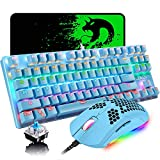 Gaming Keyboard and Mouse Combo,87 Keys Rainbow Backlit Mechanical Keyboard,RGB Backlit 6400 DPI Lightweight Gaming Mouse with Honeycomb Shell,Large Mouse Pad for PC Game(Blue)
