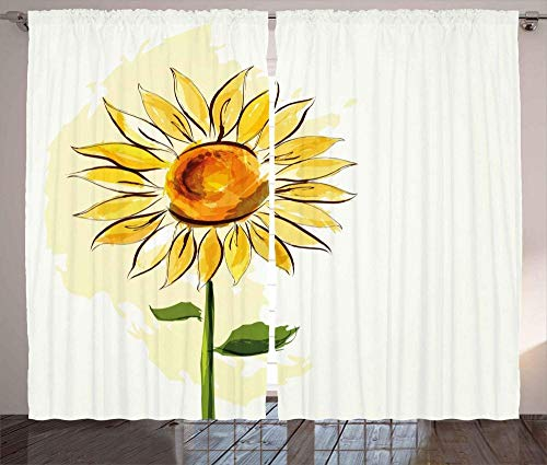 Waple Cortinas opacas ojete para sala de estar Patrón de girasol de verano amarillo acuarela 170*200cm Cortinas Opacas 3D Cortinas Paneles 3D Cortinas con Ojales para Habitación Cortinas Termicas Aisl