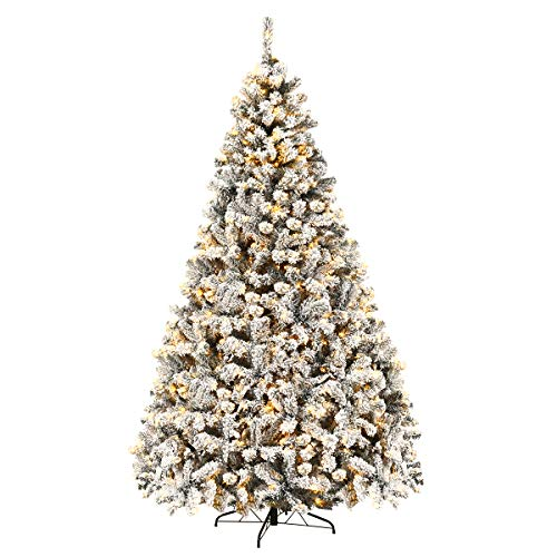 Goplus 9ft Pre-Lit Artificial Christmas Tree, Premium PVC Snow Flocked Hinged Pine Tree with Metal Stand and LED Lights, Perfect Xmas Decoration for Indoor and Outdoor
