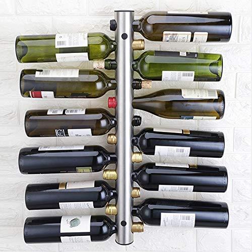 PPuujia Estante de vino Diseño Creativo Titulares de Vinos de Acero Inoxidable 8 Botellas Vino Rack Bar Montado en la Pared Titular 42.5x5cm