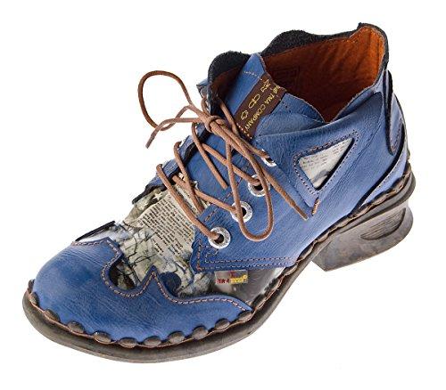 TMA Damskie buty skórzane Comfort do kostek 5155 półbuty czarno-szare, niebieskie, białe, obcas słupkowy, niebieski, 37 eu