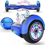 Magic Vida Skateboard Électrique 6.5 Pouces Bluetooth Puissance 700W avec Deux Barres LED Gyropode Auto-Équilibrage de Bonne qualité pour Enfants et Adult(Bleu)