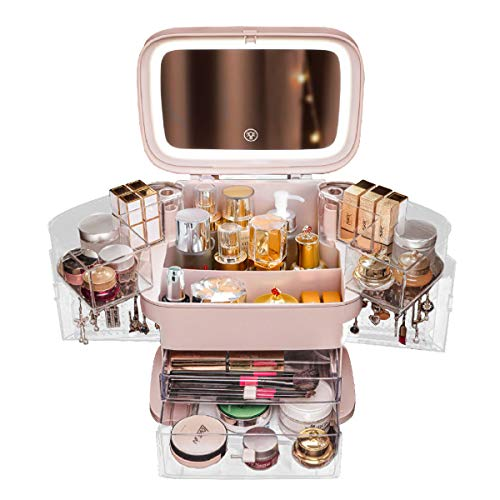 MIUOPUR Makeup Organizer with Dustproof, Large Capacit with Mirror and Lights, Cosmetics, Skincare and Jewelry Storage Display Box, 2 Rotating Trays and Drawers, Portable Travel case. - Pink