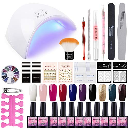 Saint-Acior Esmaltes Semipermanentes de Uñas en Gel 10pcs Kit de Esmaltes de Uñas 8ML Lámpara Uñas UV/LED 36W Curado de Esmalte de Gel Secador de Uñas Base Coat Top Coat Kit Gel