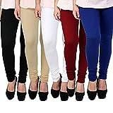 CLOUD STAR Women's Cotton Churidar leggings combo - (Pack of 5 - Black, White, Maroon, Skin, Blue) - (FREE SIZE)