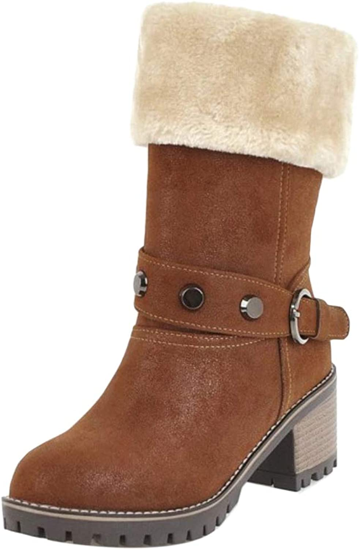 JOJONUNU Women Block Heel Snow Boots