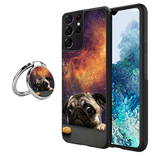 Black Samsung Galaxy S21 Ultra Case with Ring Holder Stand Pug Dog Pattern 360 Rotation Ring Grip Kickstand Soft TPU and PC Anti-Slippery Design Protection Bumper for Samsung Galaxy S21 Ultra