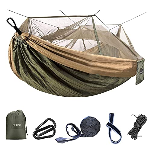 Camping Hammock - Portable Hammock with Mosquito net, 2 Person Hammock Tent for Outdoor, 10 ft Hammock Tree Straps and 2 Carabiners, Easy to Setup (Green)