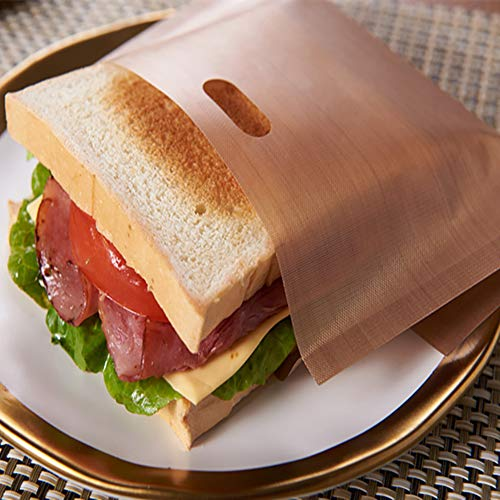 Bolsas para tostadas de 5 piezas para tostadora, antiadherente, sin residuos caídos, bolsa de queso para sándwich tostadora reutilizable resistente al calor