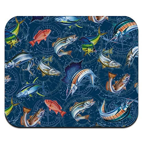 Salt Water Game Fish Fishing Ocean Compass Low Profile Thin Mouse Pad Mousepad