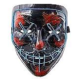 Aynsv Maschera di Halloween Maschera illuminante a LED Maschera Spaventosa per Festival Cosplay -Blu