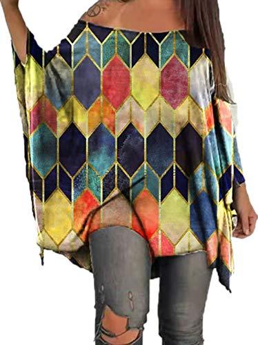 Suncolour Camiseta Holgada con Estampado de murciélago y Hombros Descubiertos para Mujer