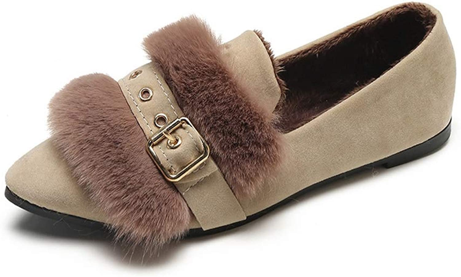 August Jim Flats shoes for Women Winter,Slip-on Faux Fur Loafers