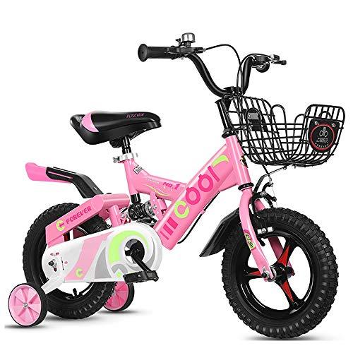Draagbare fiets voor bergkinderen van 18 inch met extra banden, hoogwaardig frame, uitgerust met vering. roze