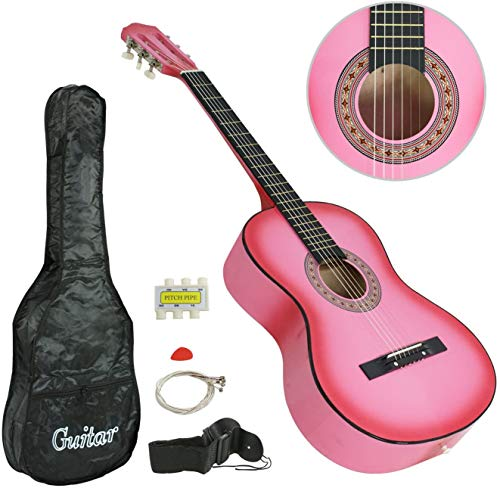 """Smartxchoices PINK 6 String 38"""" Acoustic Guitar Bundle with Gig Bag Strap Pitch Pipe Extra Strings Set Pick for Beginners Starter Kids Girls Youths Students Right-handed (PINK)"""
