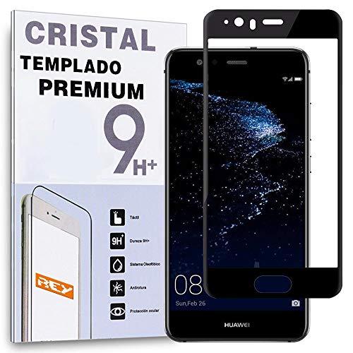 REY Protector de Pantalla Curvo para Huawei P10, Negro, Cristal Vidrio Templado...