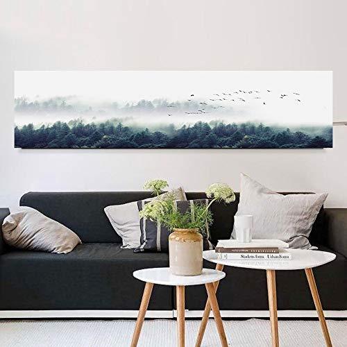 Moderne minimalistische Vogelwaldnebel im nordischen Stil dekorative Malerei Ölgemälde Wohnzimmer Kunst Wanddekoration Malerei,Rahmenlose Malerei,30x120cm
