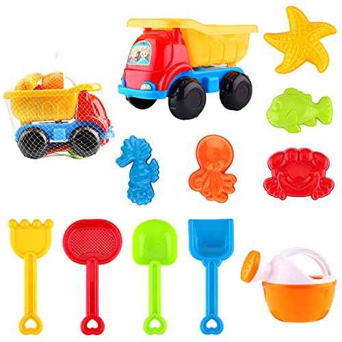 Sirecal Beach Toy Kit - 11Pcs Kids Beach Sand Toys with Mesh Bag Dump Truck Sandpit Bucket Spade Set Summer Holiday Games for Children Girls Boys Outdoor Sand and Water Play Toys