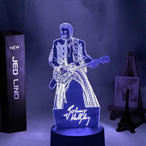 Luz de noche LED colorida figura de Johnny Hallyday Guita luz de humor para fanáticos decoración de habitación de club iluminación batería USB lámpara de mesa-With_Remote
