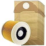 Luckyshuai Aptos for la Karcher miércoles y Wd2 seco de Filtro de aspiradora y 10 Bolsas for Polvo (Color : Yellow)