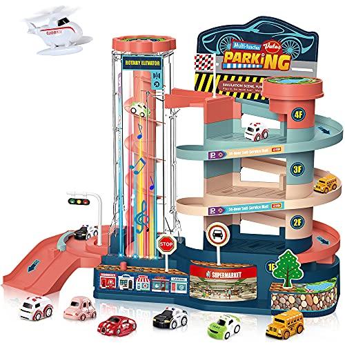 VATOS Parkhaus für Kinder-Elektrisches&ManuellesAutogarage, mit6Autos&1Helikopter| Garage Spielzeug mit 3 Ebene&Licht und Musik, für 3 4 5 6 7 8 Jahre alte Jungen Mädchen (6702)