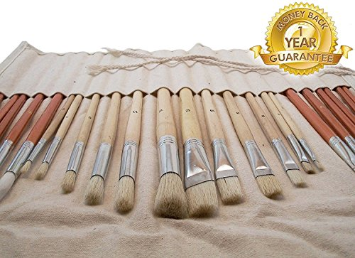 Art Paint Brush Set (24-piece) ● Highest Quality Synthetic and Natural Bristles for Oil and Acrylic ● Includes Free Canvas Storage Holder Case ● Best Variety of Round and Flat Long Handled Brushes ● ***Full One Year Quality Guarantee*** ● Perfect Paintbrush Kit with Organizer Case for Artists, Art Students, Kids and Crafters By Kehn Creations (Tm) Premium of Art and Craft Supplies