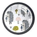 Linda seta de erizo de animales de dibujos animados, tiradores de cajones de 3,5 cm con tornillos para aparador, cuarto de baño, armario, 4 piezas