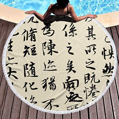 Hancal Chinesische Kalligraphie rundes Strandtuch, Hippie-Handtuch Extra große sandfeste Decke Yogamatte mit Quasten 59 '