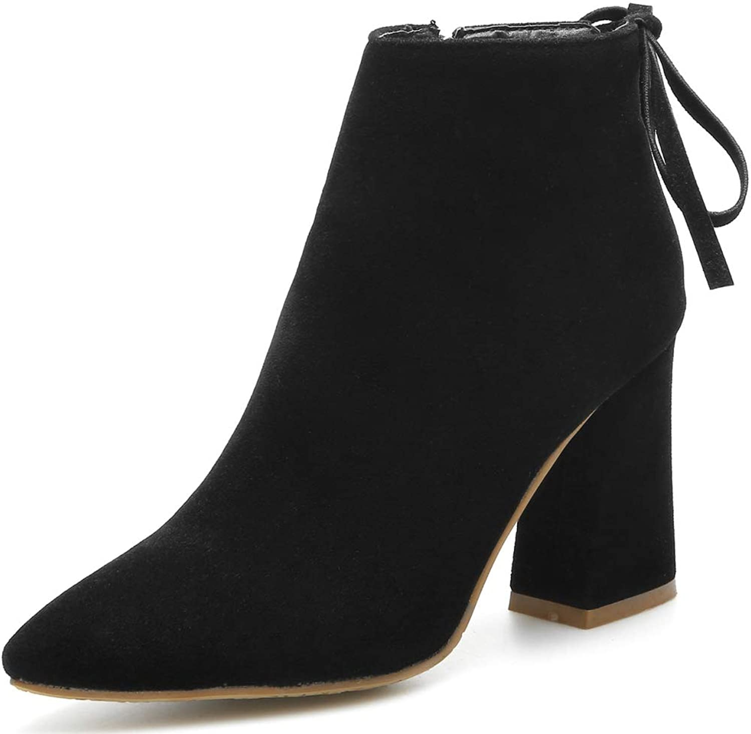 Womens Faux Suede Ankle Boot Block Heel Pointed Toe Zip Martin Boots,Black-EU 43=12B(M) US