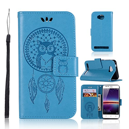LMAZWUFULM Hülle für Huawei LUA-L21 / Huawei Y3 II (4,5 Zoll) PU Leder Magnetverschluss Brieftasche Lederhülle Eule & Traumfänger Muster Standfunktion Ledertasche Flip Cover Blau