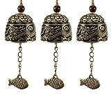 3 campanillas de viento Fengshui de aleación de zinc de latón para jardín, decoración de bendición de la buena suerte, estilo vintage, dragón Fengshui, campanilla de metal para colgar