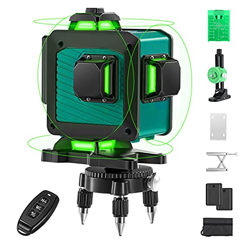 4D Laser Level, Elikliv 16 Lines 4x360° Green Laser Level Self Leveling Tool, 160ft Green Beam Laser Level, Two 360° Vertical and Two 360° Horizontal Line with Remote Controller for Construction