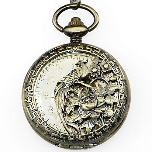 URNOFHW Los Hombres de Bronce Reloj de Bolsillo mecánico Grabado dial esquelético Mano de Animal Winding Relojes del Fob