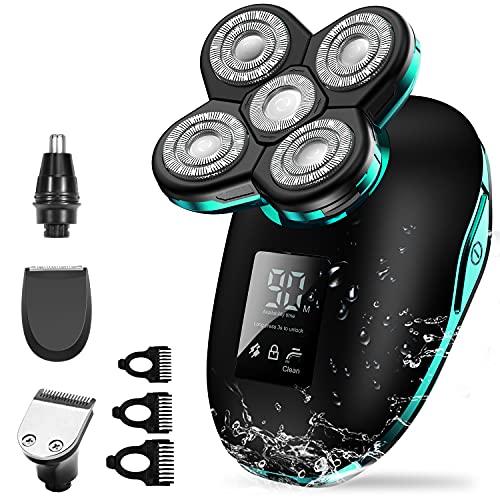Glatzen Rasierer Herren, OriHea Rasierer LED- Display Präzisionstrimmer Bartschneider Nass & Trockenrasierer IPX7 Wasserdicht, 5 IN 1 Rotationsrasierer kopfrasierer herren elektrisch - Grün