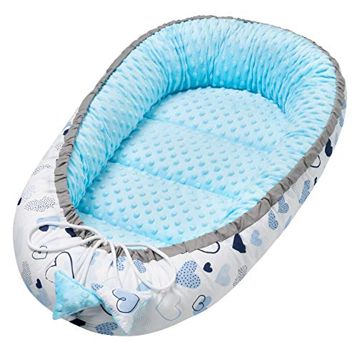 Solvera_Ltd - Cuna para bebé (2 caras, 100% algodón, 50 x 90 cm), color azul